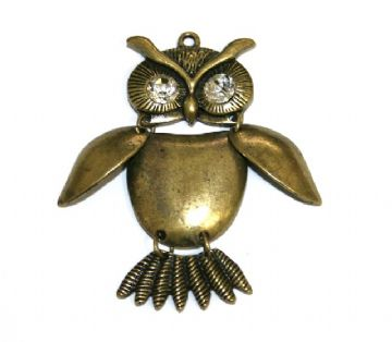 1pce x Antique brass articulated owl pendant with clear eyes 50mm - S.F05 - WA157 - 1411120